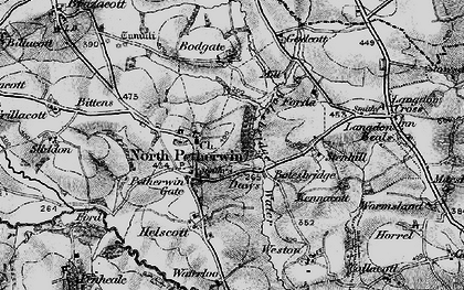 Old map of Petherwin Gate in 1895