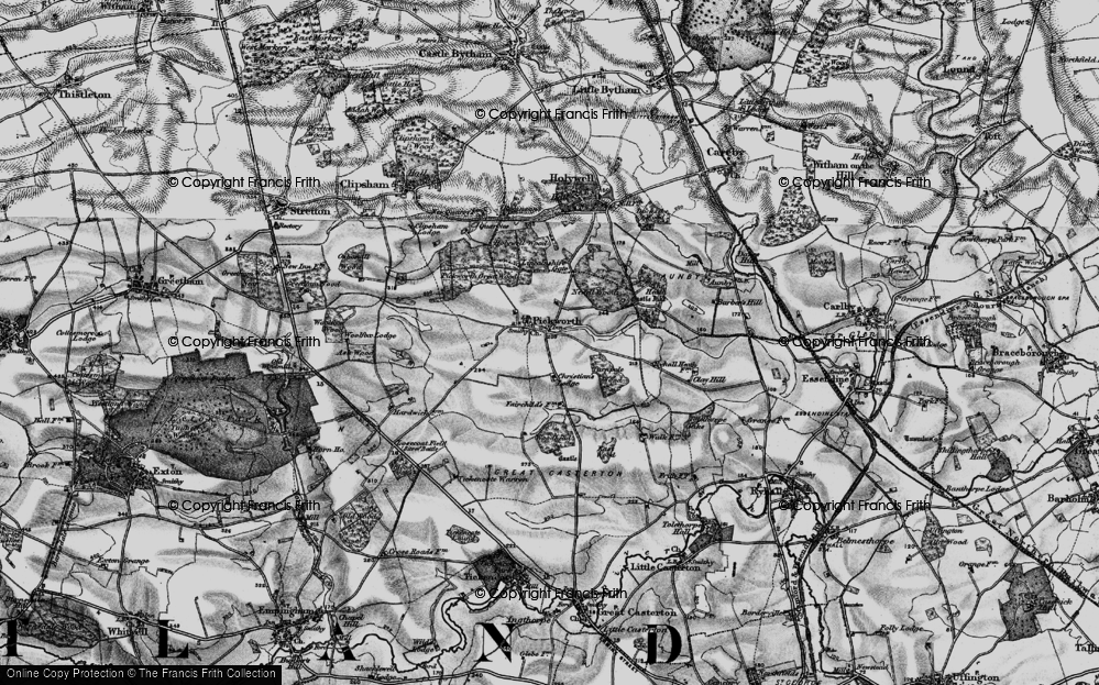 Old Map of Historic Map covering Lincolnshire Gate in 1895