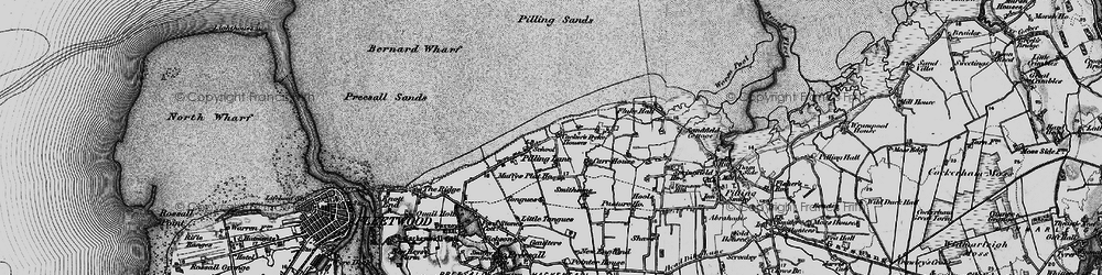 Old map of Wyre-Lune Wildfowl Sanctuary in 1896