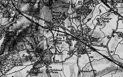 Old map of Pinner in 1896