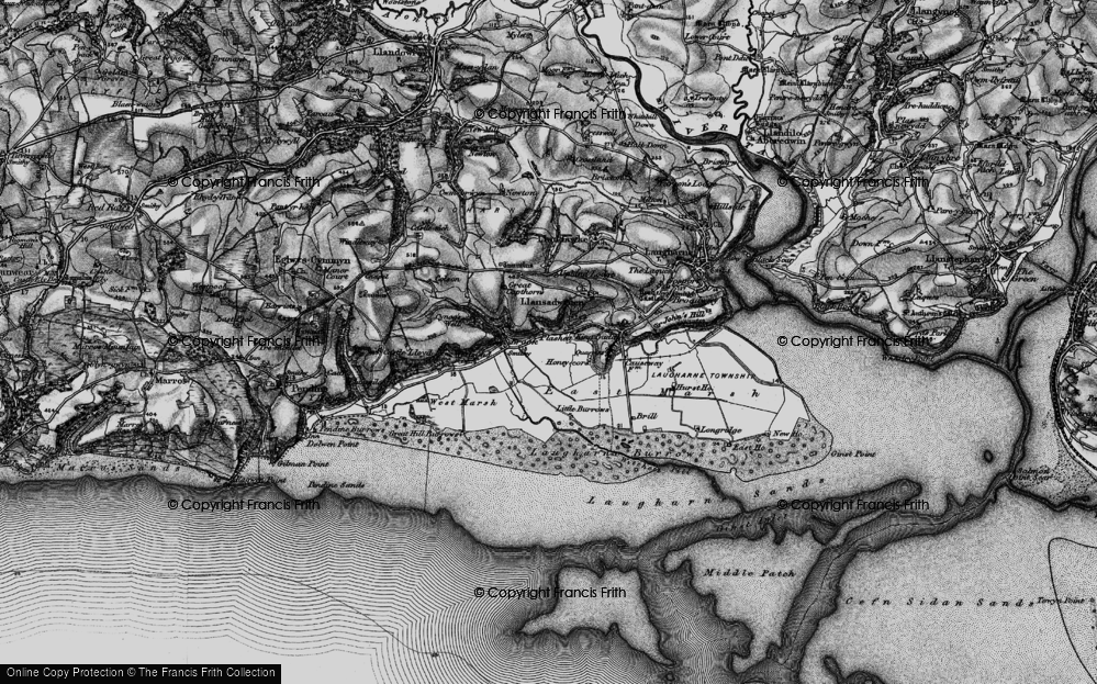 Old Map of Historic Map covering Laugharne Burrows in 1898