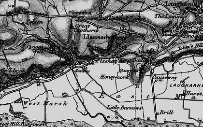 Old map of Laugharne Burrows in 1898
