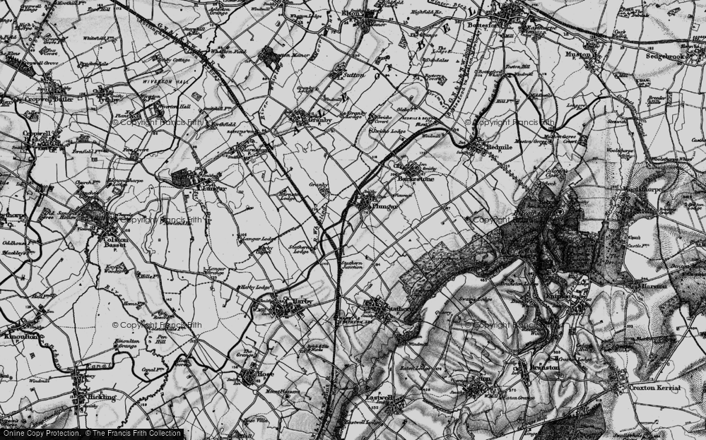 Old Map of Historic Map covering Langar Airfield in 1899