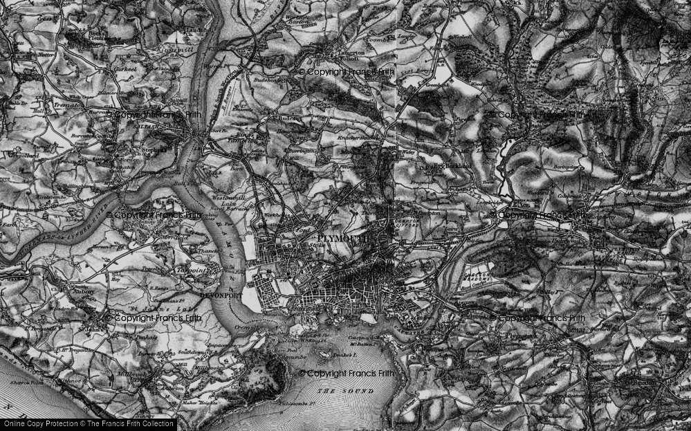 Old Map of Plymouth, 1896 in 1896