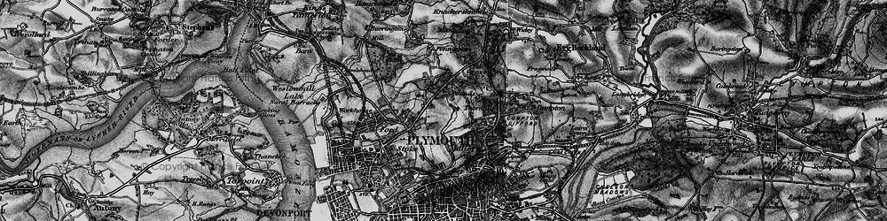 Old map of Plymouth in 1896