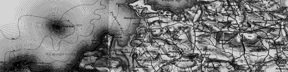 Old map of Polzeath in 1895