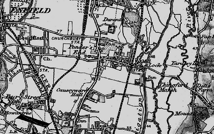 Old map of Ponders End in 1896