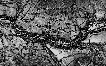 Old map of Afon Cwmau in 1898