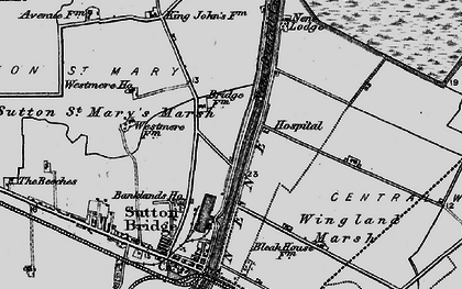 Old map of Wingland Marsh in 1898