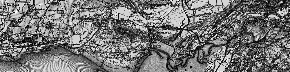 Old map of Porthmadog in 1899