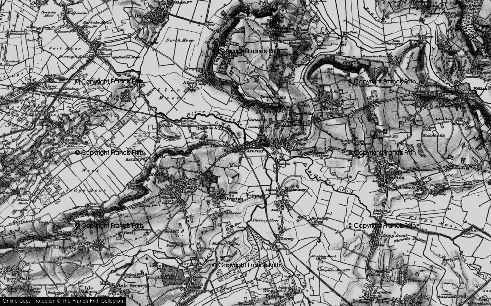 Old Map of Historic Map covering Langport in 1898