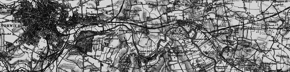 Old map of Whitlingham Marsh in 1898