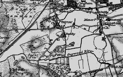 Old map of Leziate Fen in 1893