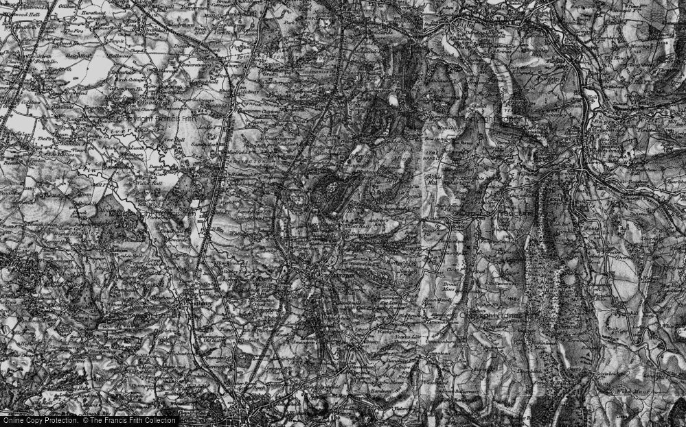 Old Map of Historic Map covering Bakestonedale Moor in 1896