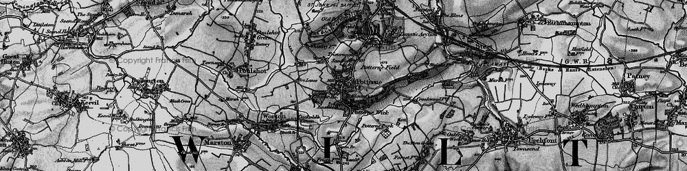 Old map of Potterne in 1898