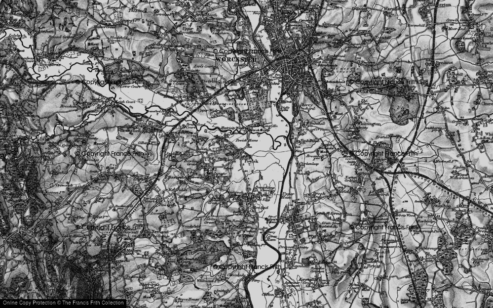 Old Map of Powick, 1898 in 1898