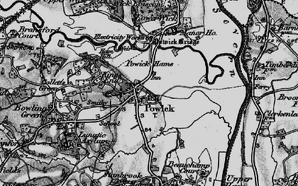 Old map of Powick in 1898