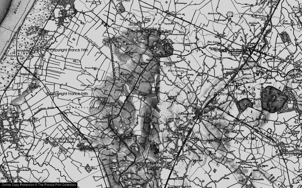Old Map of Historic Map covering Clieves Hills in 1896