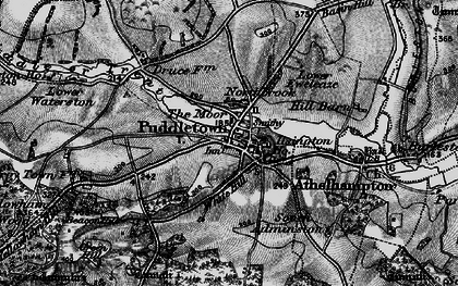 Old map of Puddletown in 1898
