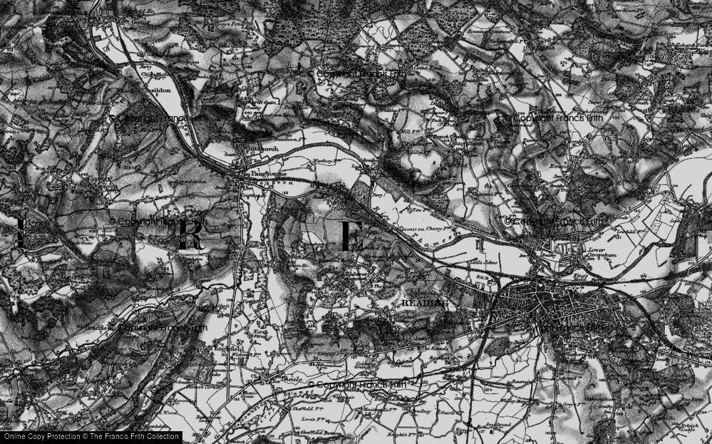 Old Map of Historic Map covering Tilehurst Sta in 1895