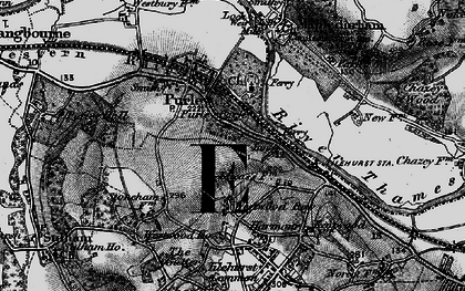 Old map of Purley on Thames in 1895
