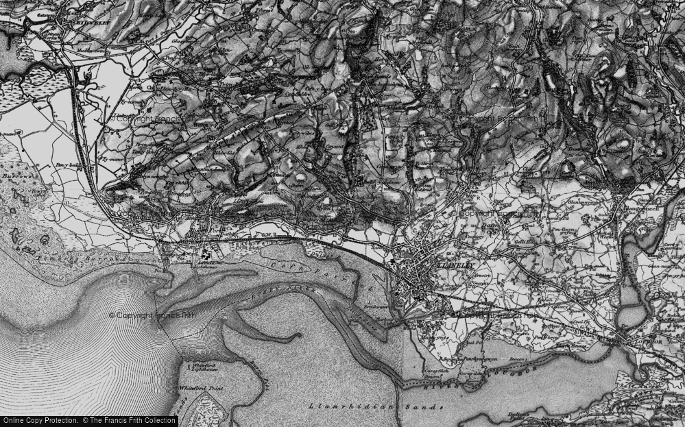 Old Map of Historic Map covering Afon Dulais in 1896