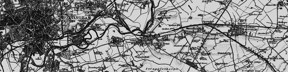 Old map of Radcliffe on Trent in 1899