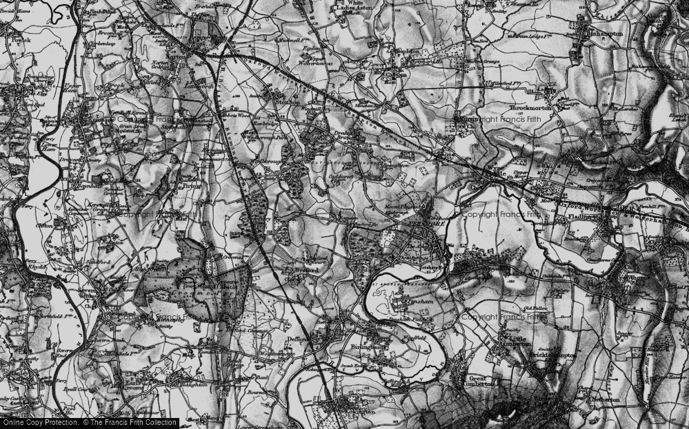 Old Map of Historic Map covering Allesborough Hill in 1898