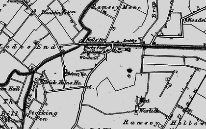Old map of Ash Drain in 1898