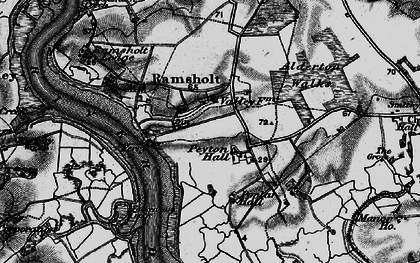 Old map of Alderton Ho in 1895