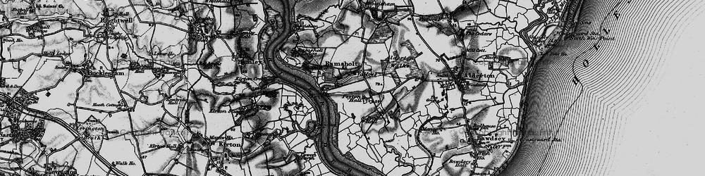 Old map of Alderton Ho in 1895