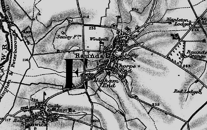 Old map of Raunds in 1898