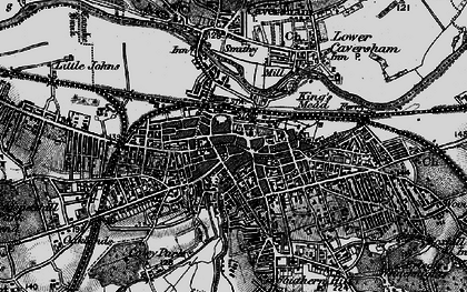 Old map of Reading in 1895