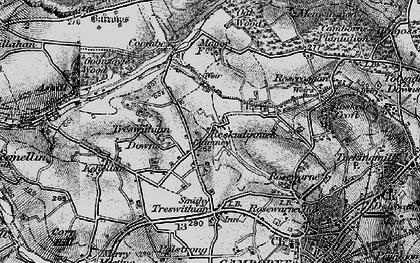 Old map of Reskadinnick in 1896