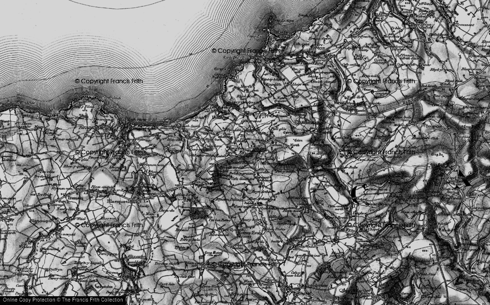 Old Map of Historic Map covering Allt y corde in 1898