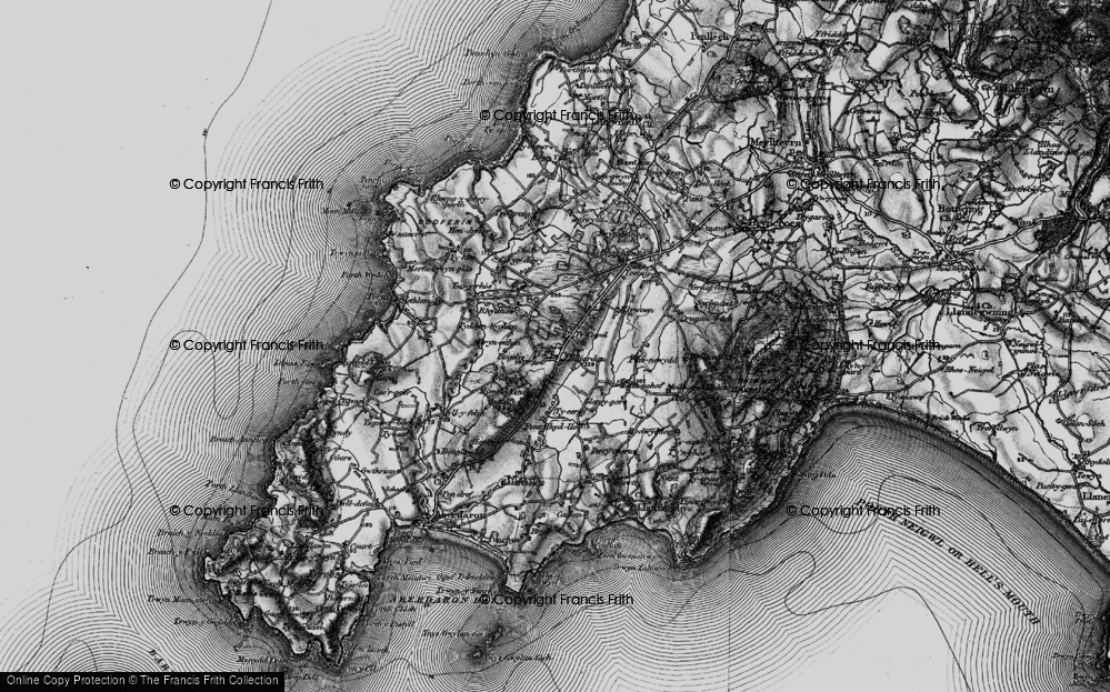 Old Map of Historic Map covering Afon Daron in 1898