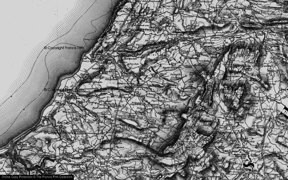 Old Map of Historic Map covering Talwrn Hogfaen in 1898