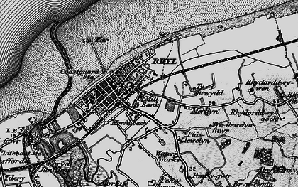 Old map of Rhyl in 1898