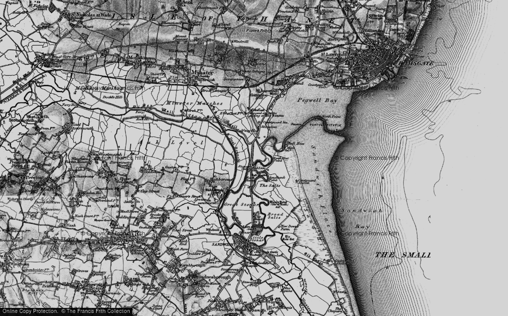 Old Map of Historic Map covering Back Sand Point in 1895