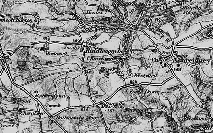 Old map of Westacott Barton in 1898