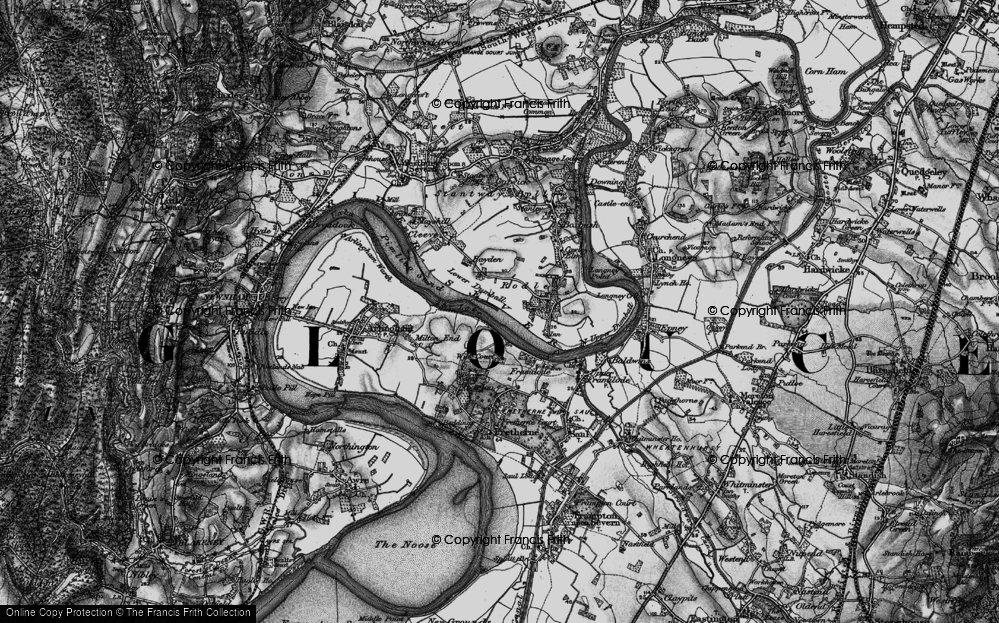 Old Map of River Severn, 1896 in 1896