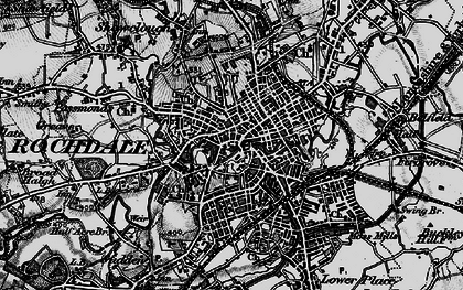 Old map of Rochdale in 1896