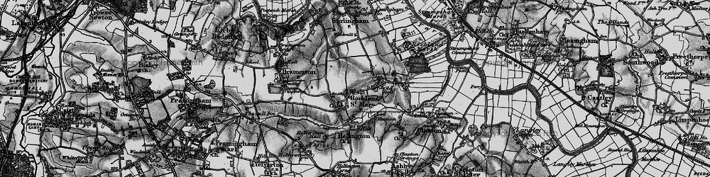 Old map of Rockland St Mary in 1898