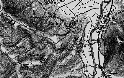 Old map of Rodmell in 1895