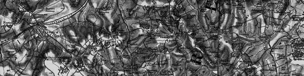 Old map of Roe Green in 1896