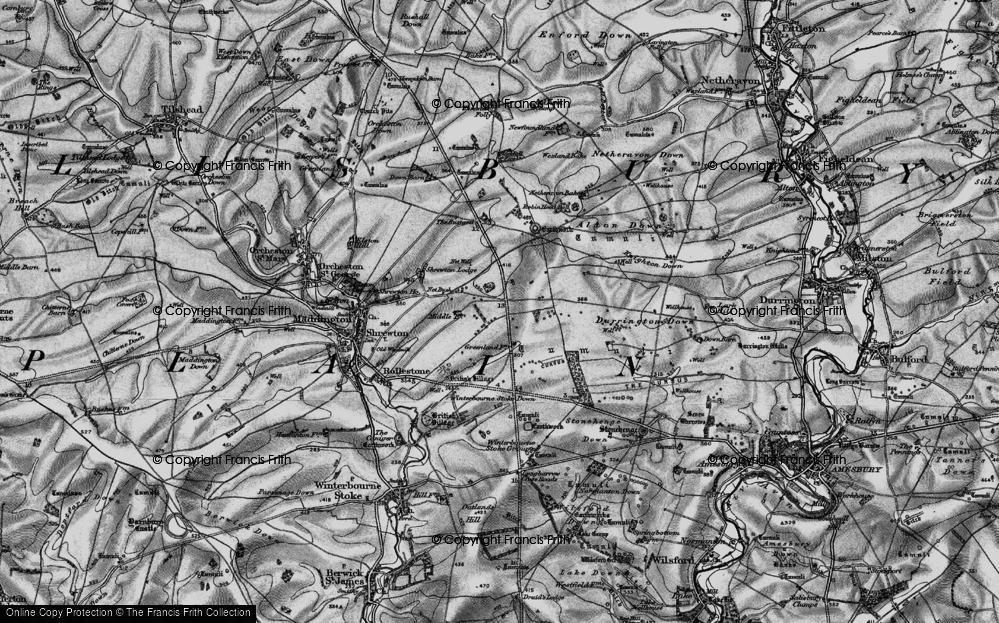 Old Map of Historic Map covering Airman's Corner in 1898
