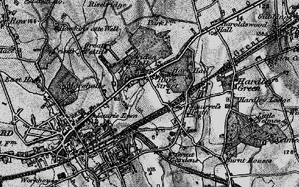 Old map of Romford in 1896