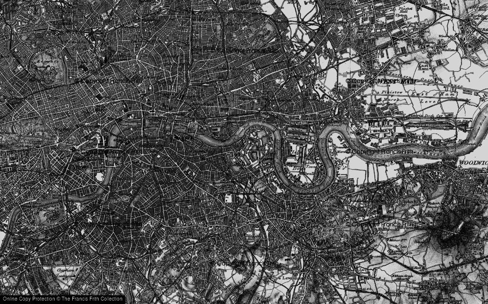 Old Map of Historic Map covering Limehouse Reach in 1896