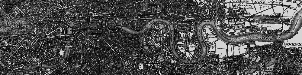 Old map of Limehouse Reach in 1896