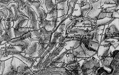 Old map of Ruan High Lanes in 1895